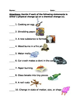 Physical vs chemical changes in matter quiz