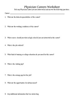 Physician Careers Research Worksheet
