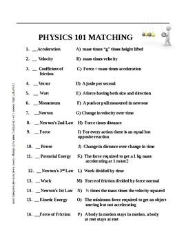 Physics 101 Matching