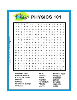 Physics 101 Wordsearch or Word Search