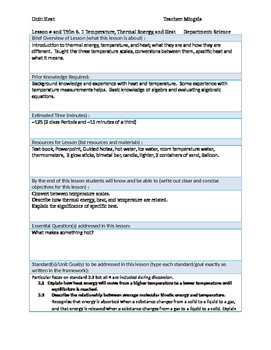 Physics 6.1 Thermal Energy, Heat, and Temperature Lesson Plan