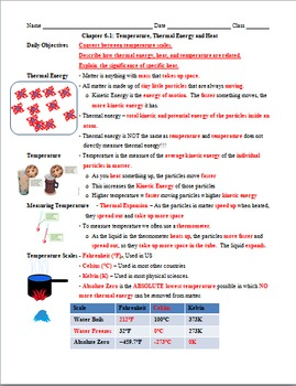 Physics 6.1 Thermal Energy, Heat, and Temperature PowerPoint & Guided Notes