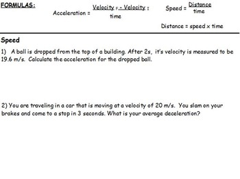 Physics - Acceleration and Average Speed w/worksheet (SMART BOARD)