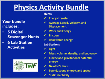 Physics Activity Bundle - 6 Lab Stations and 5 Digital Scavenger Hunts
