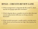 Physics BINGO Electric Circuits Review Game