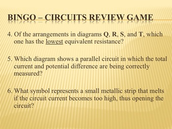 Physics BINGO Electric Circuits Review Game
