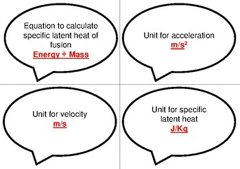 Physics Bingo: Equations and Units