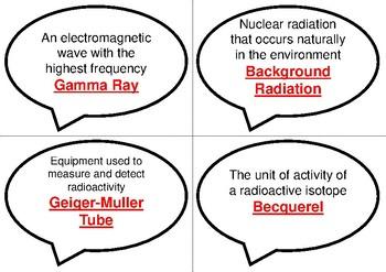 Physics Bingo: Radioactivity (Covers alpha, beta and gamma radiation)