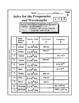 Physics: Calculate Wavelength and Frequency of light