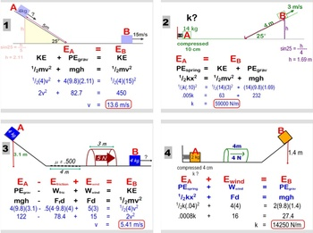 """Physics - Conservation of Energy Problems - """"Picture Problems"""" Bundle"""