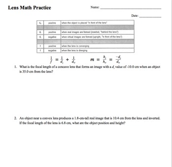 Physics Convex and Concave Lens Practice Problems