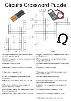 Physics Crossword Puzzle: Circuits (Includes answer key)
