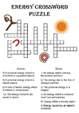 Physics Crossword Puzzle: Energy Forms (Includes answer key)