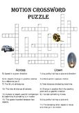 Physics Crossword Puzzle: Motion (Includes answer key)