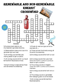 Physics Crossword Puzzle Renewable And Nonrenewable