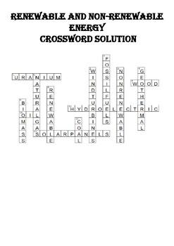 Physics Crossword Puzzle: Renewable and nonrenewable energy