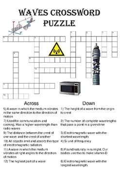 Physics Crossword Puzzle: Waves (Includes answer key)