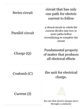 Physics, Electricity - Flash cards with test designed usin