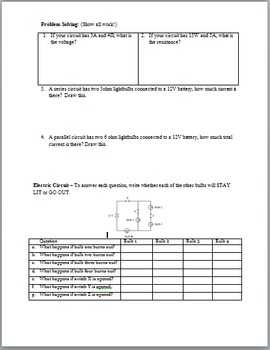 Physics Electricity Vocabulary Review and Quiz