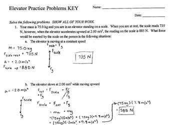 Physics Elevator Practice Problems