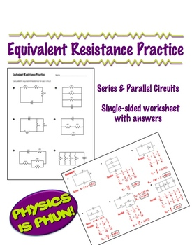 physics equivalent resistance practice 1 page worksheet by lisa tarman. Black Bedroom Furniture Sets. Home Design Ideas