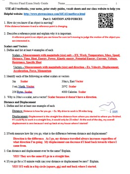 Physics Final Exam Study Guide Review Worksheet by Science ...