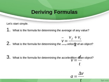 Physics: Final Velocity and Distance Powerpoint