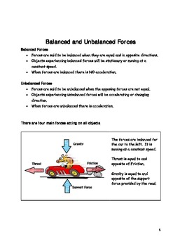 Physics: Forces Workbook with notes, questions and quiz