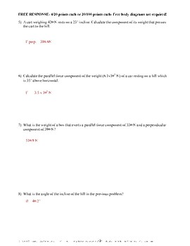 Physics- Forces at an Incline- Quiz or Worksheet