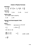 Physics Formula Sheet