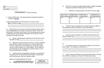 Physics - Friction Experiment  w/ worksheet (The Mu of the Shoe) (POWERPOINT)