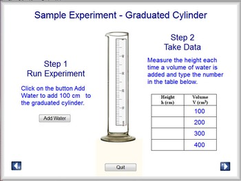 Physics - Graduated Cylinder Lab Software - PC & MAC Flash Version