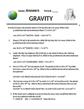 Physics Homework #23 Newton's Law of Universal Gravitation
