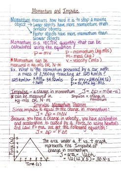 physics interactive notebook notes momentum impulse collisions
