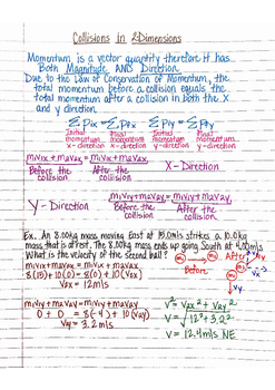 Physics Interactive Notebook Notes: Momentum and Collisions in 2 Dimensions