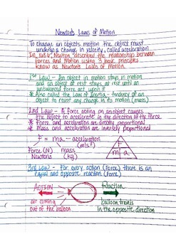 Physics Interactive Notebook Notes: Newton's Laws and Forces