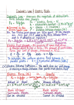 Physics Interactive Notebook Notes: Static Electricity and Coulomb's Law