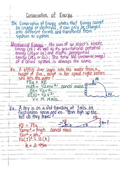 Physics Interactive Notebook Notes: Kinetic and Potential Energy and Hooke's Law