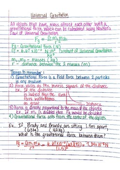 Physics Interactive Notebook Notes: Universal Gravitation