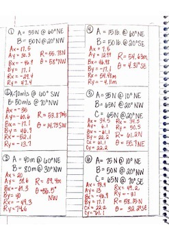 Physics Interactive Notebook Notes: Vector Addition and Practice Problems