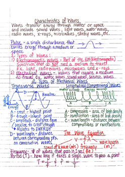Physics Interactive Notebook Notes: Waves Properties and Interference