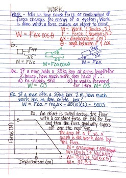 Physics Interactive Notebook Notes: Work