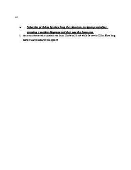 Physics (Kinematics) Test