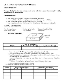 Coefficient Of Friction Worksheets & Teaching Resources | TpT