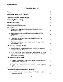 Physics Lab Manual (Sample)