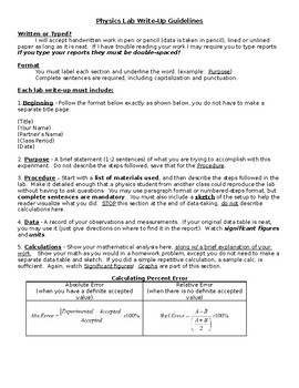 Physics Lab Report Guidelines
