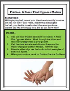 Physics Learning Stations: Friction- A Force That Opposes Motion