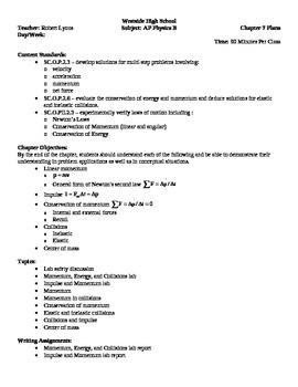 Physics - Linear Momentum Block Schedule Lesson Plan