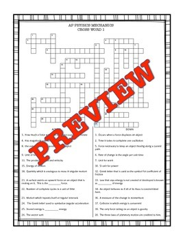 Physics (Mechanics) End of Year Word Puzzles