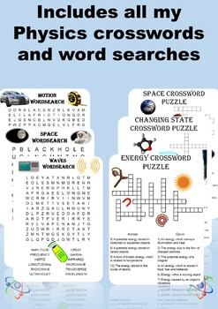 Physics: Mega Puzzle Bundle. 20 Crosswords and Wordsearches included!